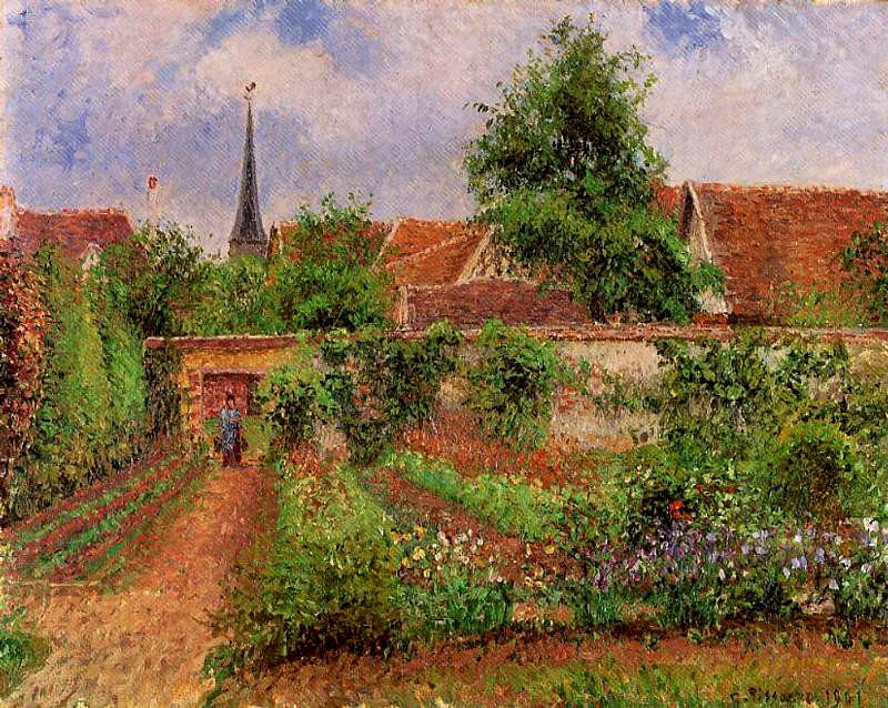 Vegetable Garden in Eragny, Morning by Camille Pissarro, 1901