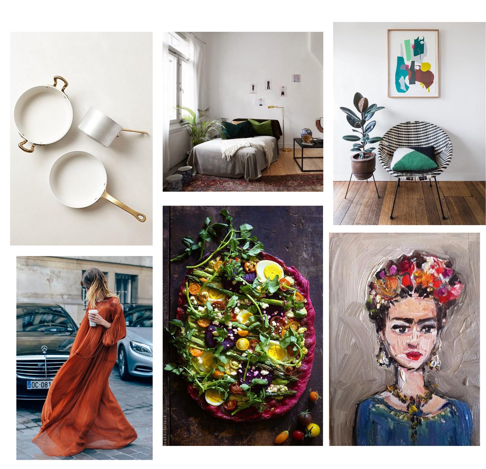 frida kahlo painting, boho chic dress, rödbetspizza, emaljkastruller