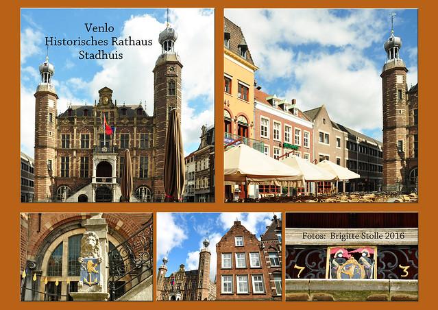 Venlo, im April 2016. Die niederländische Stadt liegt - wie auch Venray - in der Provinz Limburg. Durch den Ort fließt die Maas, der Fluss, der in Frankreich entspringt und in die Nordsee mündet. Venlo ist eine alte Handels- und Hansestadt. Das prächtige Rathaus (Stadhuis) im Renaissance-Stil weist auf den früheren Wohlstand hin. Im Altstadtkern gibt es noch weitere geschichtsträchtige Gemäuer, Kirchen (z. B. die Stint Martinuskerk), Kapellen. Auf dem Rathausplatz findet man Straßencafés, wo man in der Sonne einen Kaffee oder Wein genießen kann. Die Einkaufsmöglichkeiten in der Innenstadt werden auch von den deutschen Nachbarn gerne genutzt. Bei unserer kleinen Holland-Rundfahrt schien zur Abwechslung mal die Sonne und es zeigte sich hier und da ein blauer Fotografierhimmel. Glück gehabt bei den üblichen April-Wetter der letzten Tage. Foto Brigitte Stolle 2016 Fotocollage