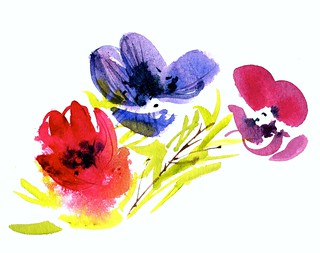 Peregrine Farm Project,  flowers. Medium: rainwater and watercolors