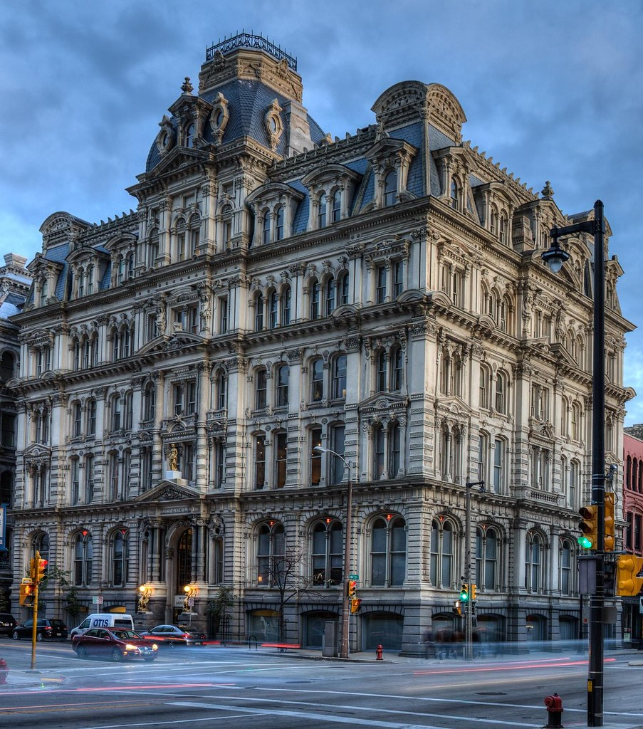 A square-based domes tops the Mitchell Building, an 1876 office building, Milwaukee, Wisconsin. Image credit Kenneth C. Zirkel