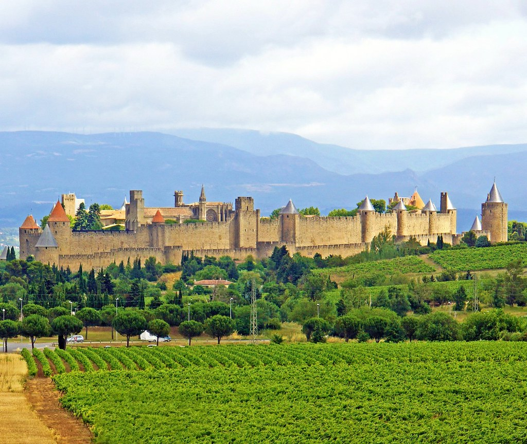 View of the medieval city of Carcassonne amongst vineyards. Photo Harry. Photo Dennis Jarvis
