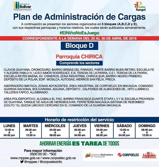 PAC: Parroquias 11 de Abril, Marhuante, Vista hermosa, Chirica, Simón Bolívar, Upata y José A Páez (Bloque D)