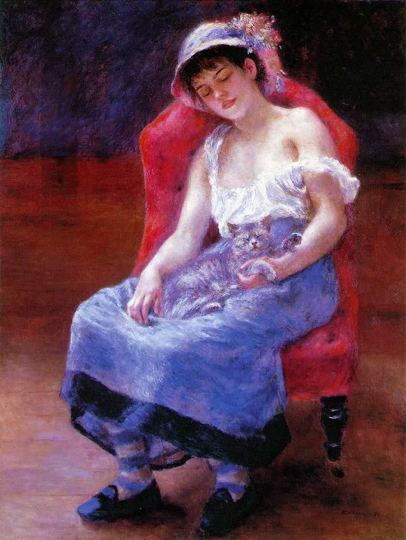Sleeping Girl (also known as Girl with a Cat) by Pierre-Auguste Renoir, c.1880