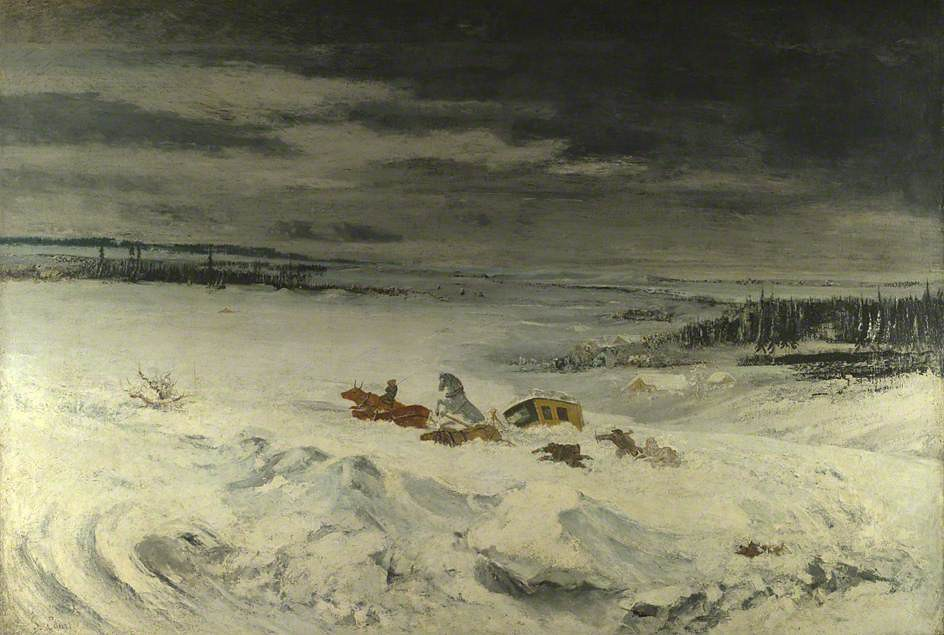 La Diligence in the Snow by Gustave Courbet, 1860