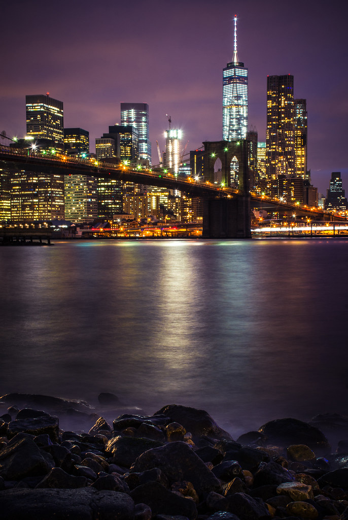new york city, night, east river, reflections, lights, photography