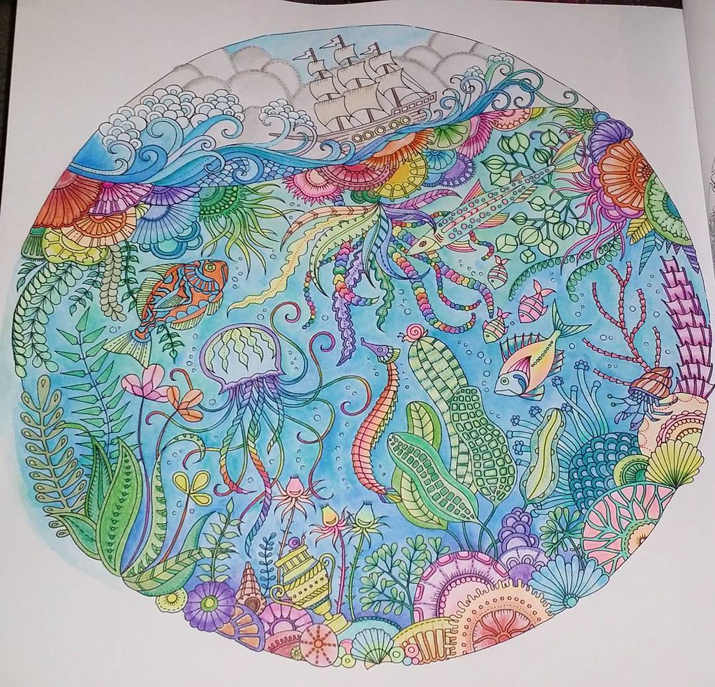 Finally Finished My First Page Of My Lost Ocean Coloring B