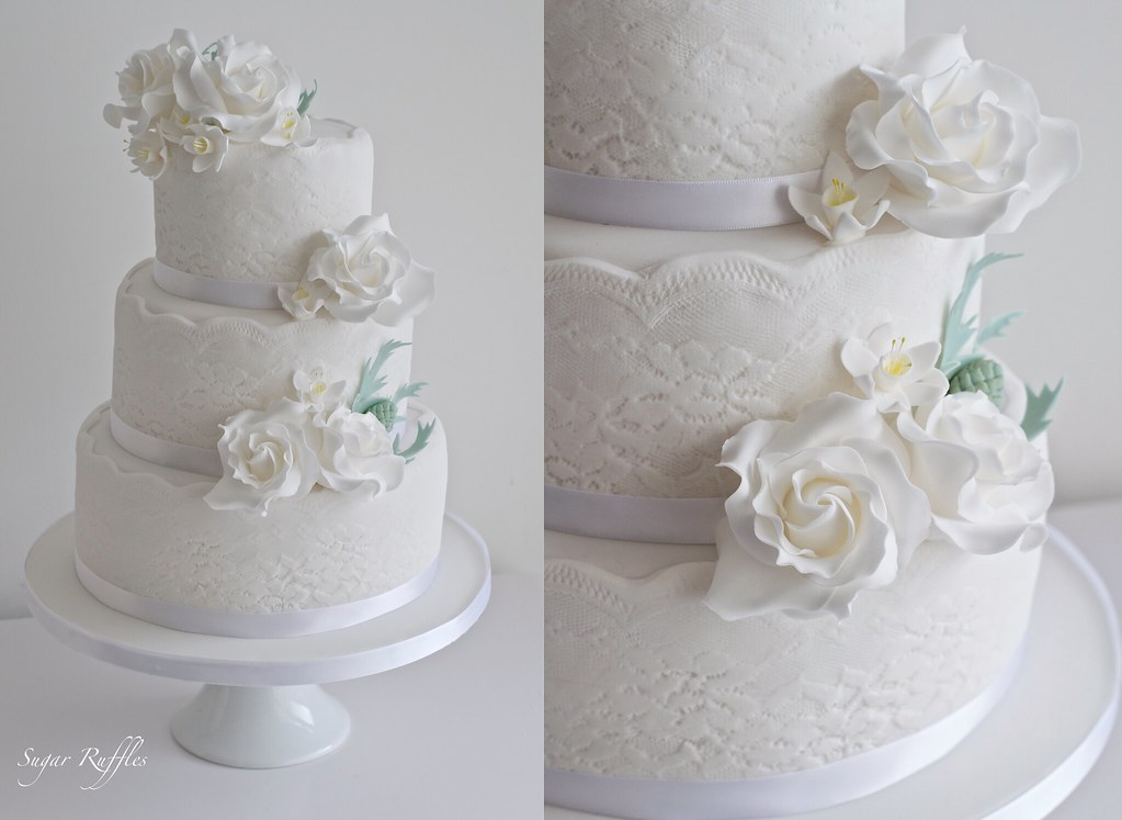 lace wedding cake lace wedding cake with thistle flickr 5374