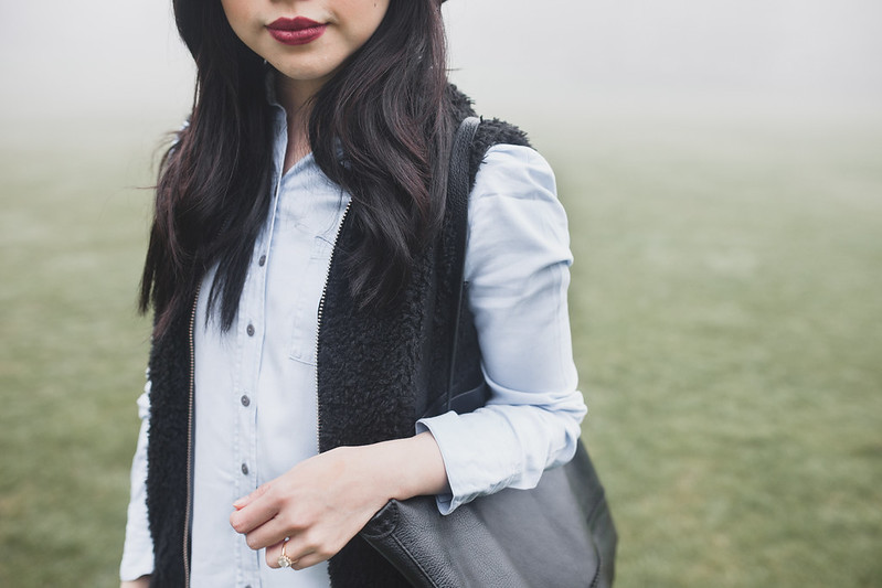 chambray and black outfit