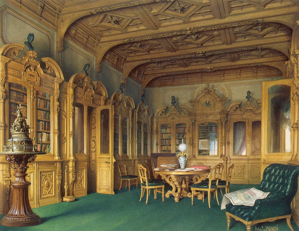 The Russian mansion of von Stieglitz: The Library. 1870