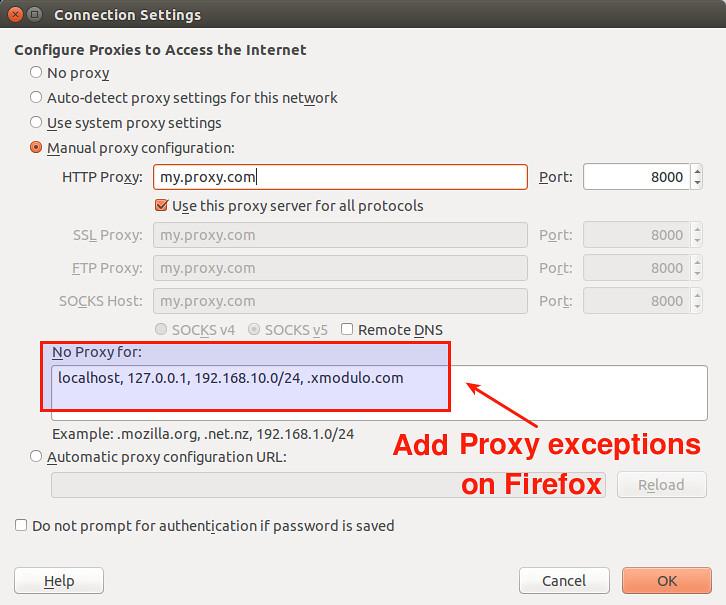 Bypass proxy on ubuntu