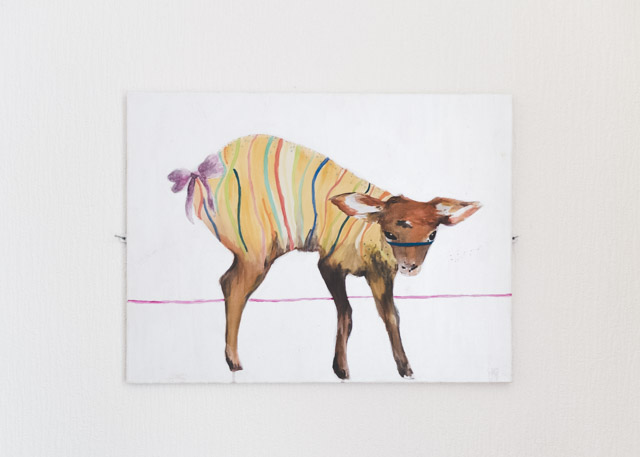 colourful striped deer painting by laura redburn