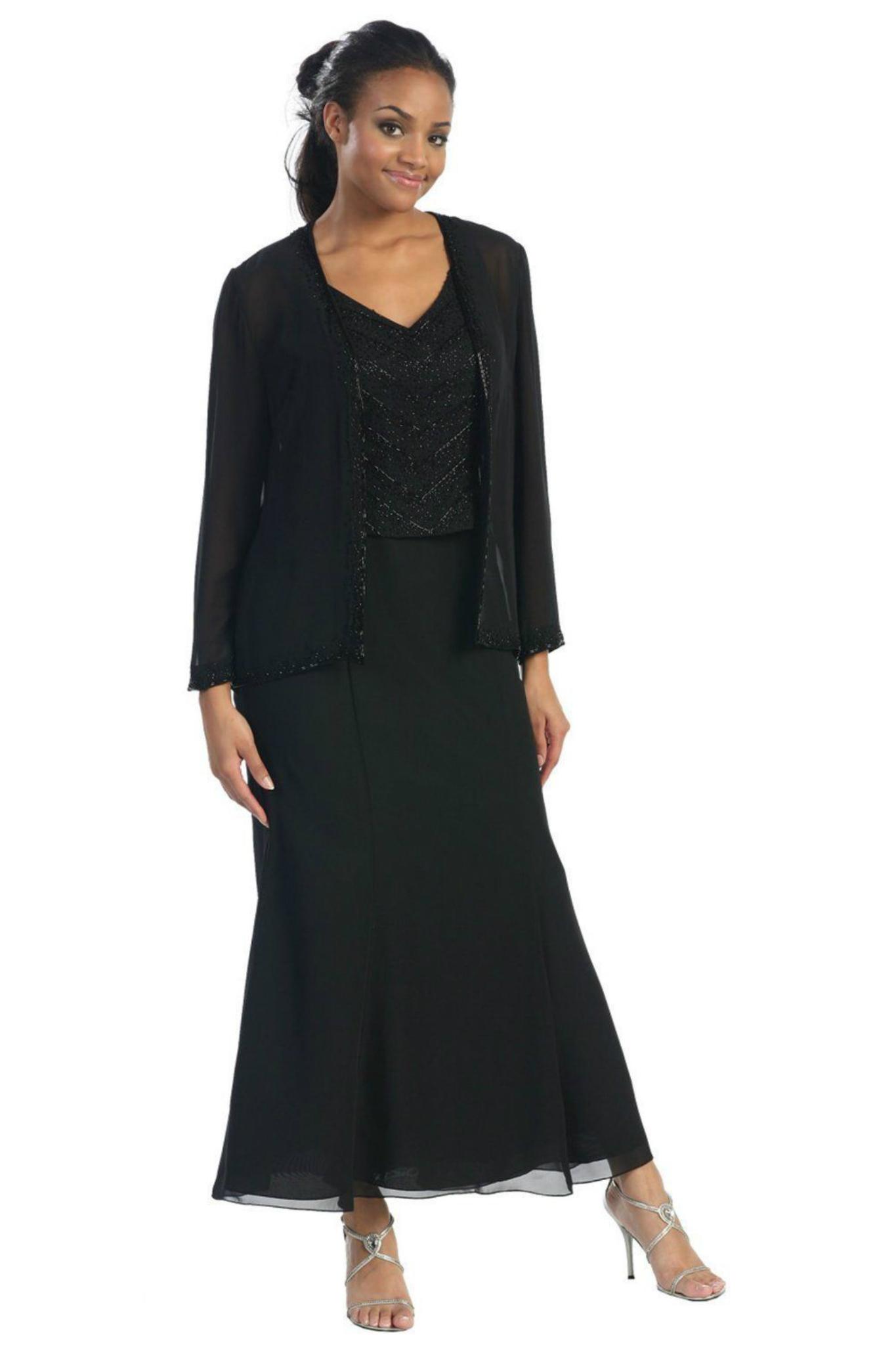 Mother of Bride Church Funeral modest Long Jacket Evening ...