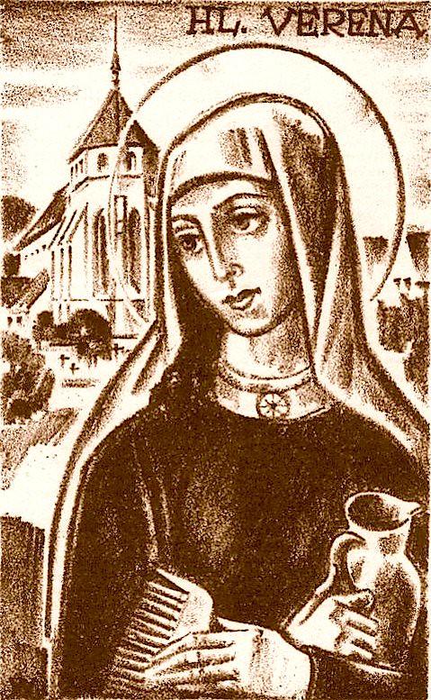 Верена Золотурнская, Цурцахская, отшельница преподобная. Западно-Европейская икона.
