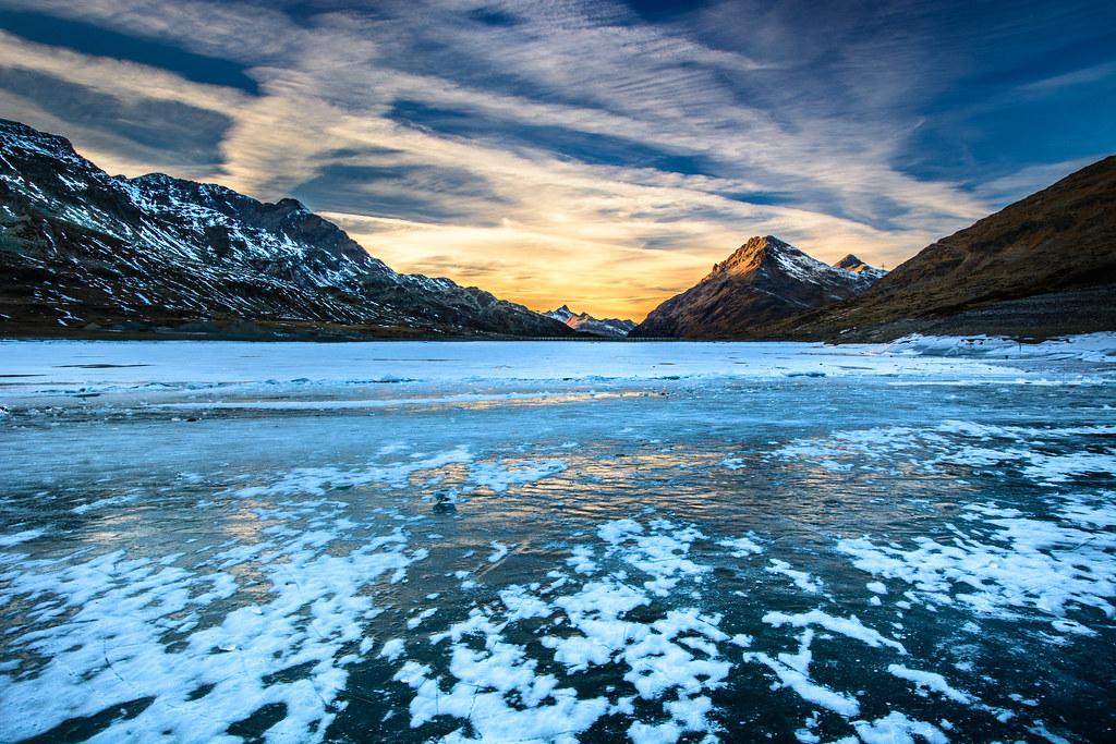 Frozen Lago Bianco Lago Bianco Is A Lake At Bernina Pass