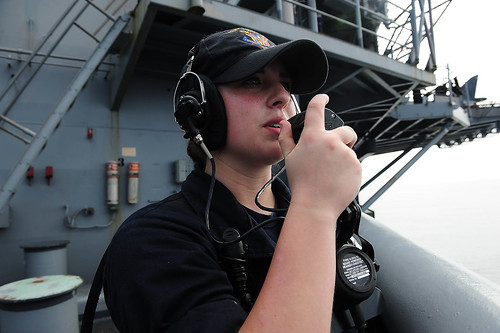 Seaman Gabrielle Connelly, a junior Sailor in Deck department, recently accomplished her goal to become the first female to qualify as master helmsman aboard Boxer in the past decade.