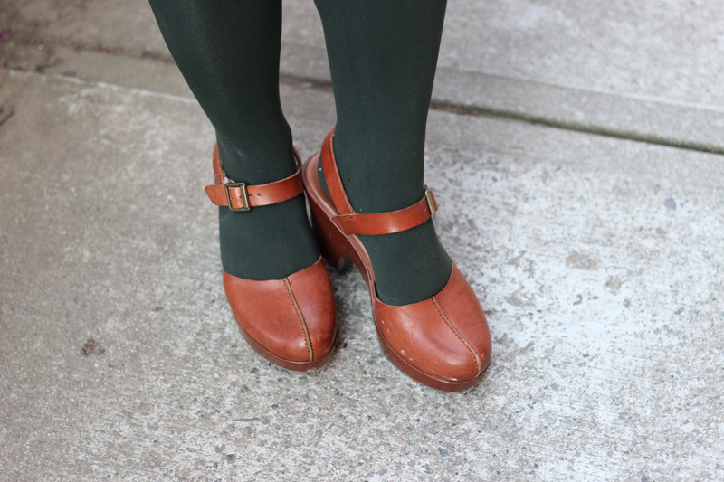 Dark Green Tights and Brown Korks Clogs