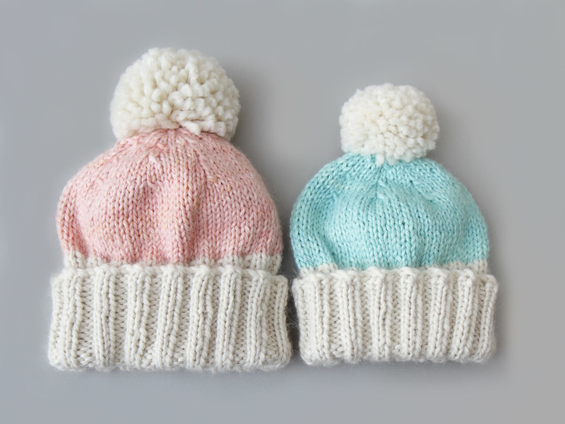 Hoxton Luxe: Adult S-M, Marshmallow Cloud Alpaca Chunky in 'Natural' & 'Baby Cakes' (left); Child 'Natural' & 'Vapour' (right)