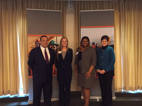 USDA Deputy Secretary Krysta Harden with ADM Chief Human Resources Officer Mike D'Ambrose and students Nicole Ashley Holden and Dara Robertson at the Agriculture Diversity and Inclusion Roundtable in Washington, D.C.