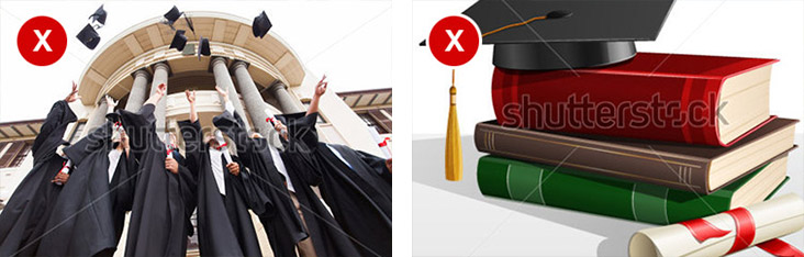 Examples of bad stock photos. One showing graduates throwing their mortar boards in the air and the other a clip art graphic of a mortar board on a stack of books