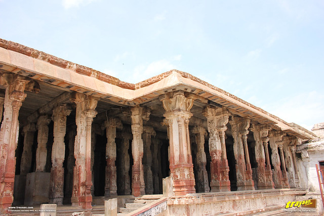 A columned mandapa or pavillion in Virupaksha Temple complex, Hampi, Ballari district, Karnataka, India