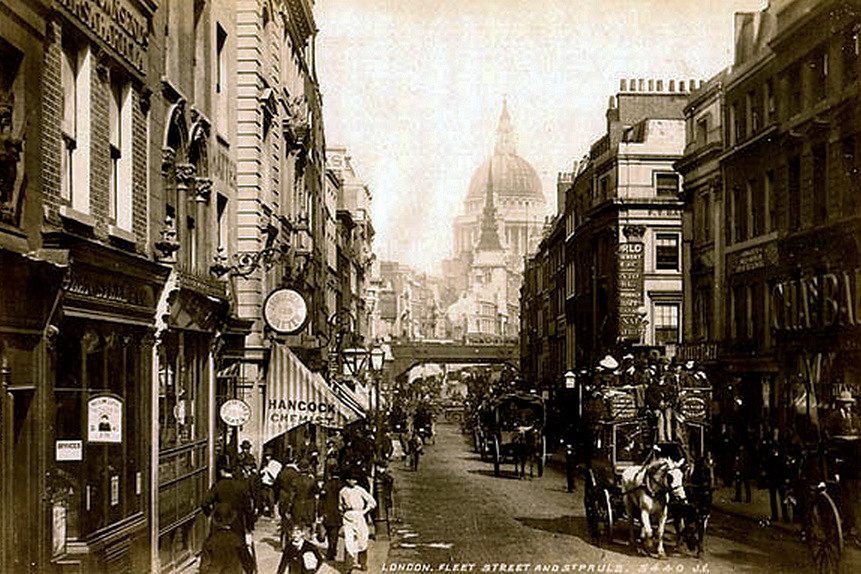 Fleet Street in London looking east towards St Paul's Cathedral. Photograph by James Valentine, c.1895.