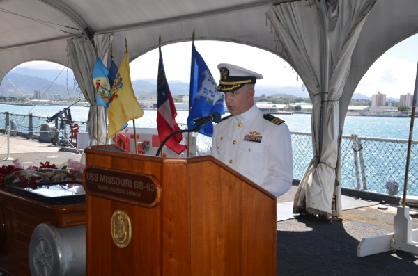 The guided-missile destroyer USS JOHN PAUL JONES (DDG 53) held a change of command ceremony Thursday April 21st onboard the World War II battleship USS MISSOURI (BB 63) at Ford Island, Hawaii.