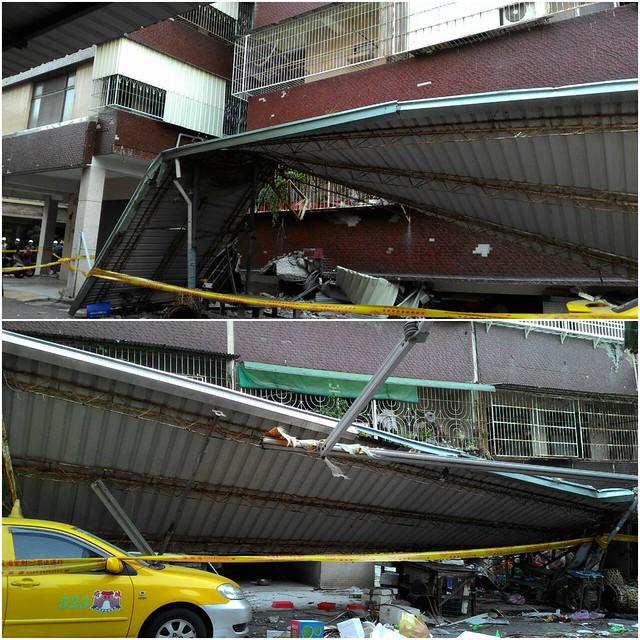 206地震,台南傳出災情,圖為長東街103巷大樓,整體下降一個樓層。攝影:施惠慈