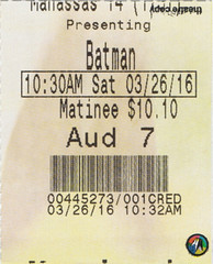 Batman v Superman: Dawn of Justice ticketstub