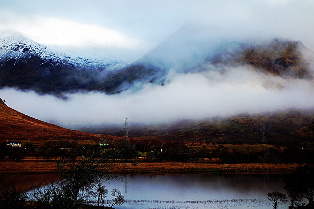 Loch Awe landscape in winter.