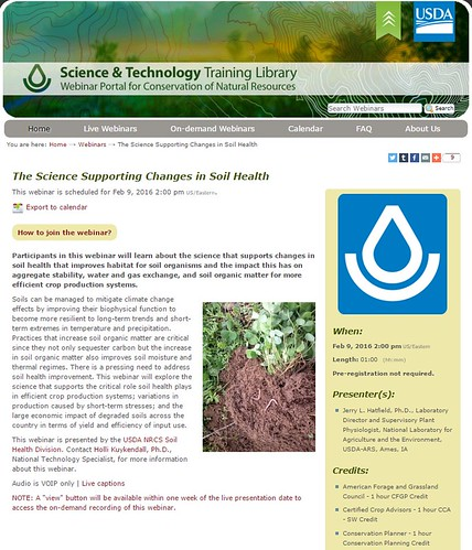 The Science Supporting Changes in Soil Health webinar screenshot