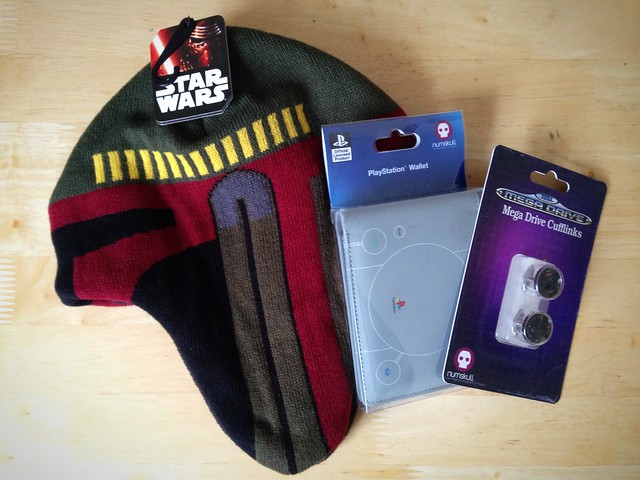 Numskull Designs Star Wars Boba Fett Hat, SONY PlayStation Wallet and SEGA Mega Drive Cufflinks