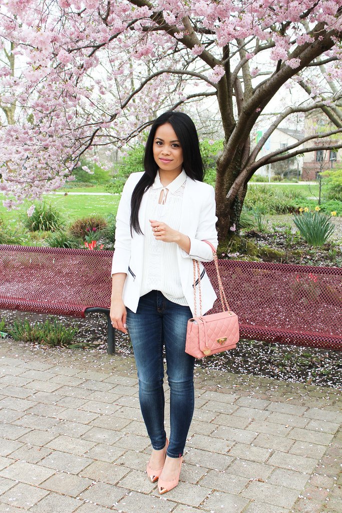 Fresh spring look with white blazer
