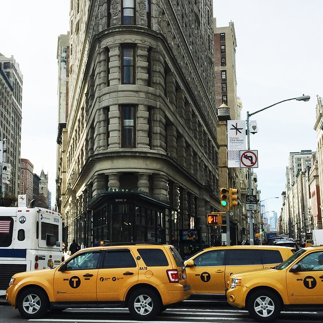 The Flatiron Building and Yellow Taxis