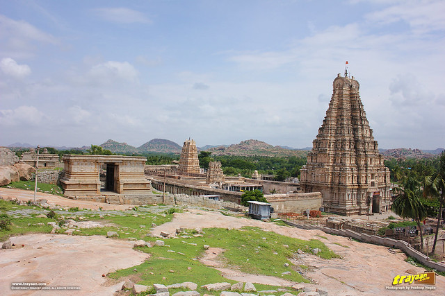 A view of Virupaksha Temple complex and entrance to Hemakuta Temples over the Hemakuta Hill in Hampi, Ballari district, Karnataka, India