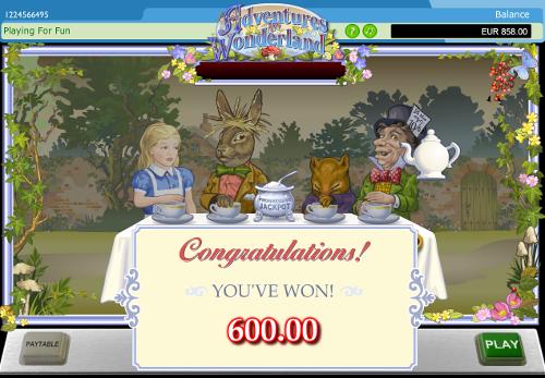 free Adventure in Wonderland bonus feature prize