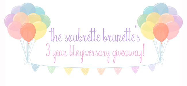 the soubrette brunette: 3 year blogiversary giveaway!