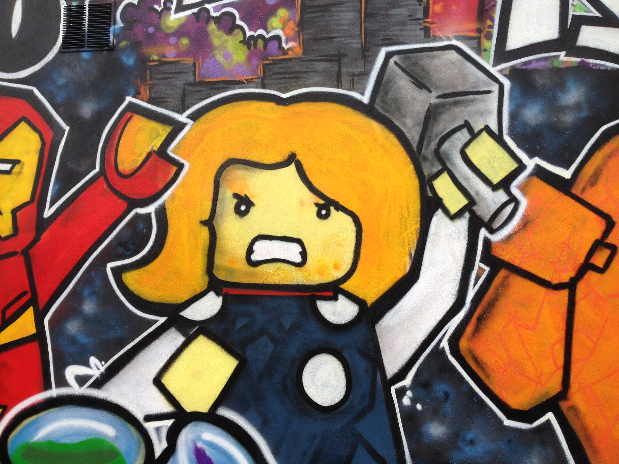 Marvel Lego Thor street art, Blackpool, by Dominic Carlyle
