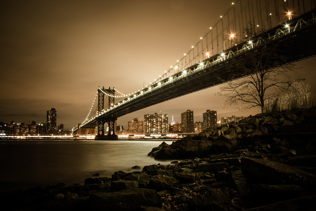 brooklyn bridge, new york city, NYC, night, lights, east river, photograhpy