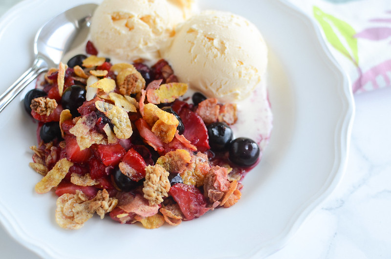 Easy Triple Berry Crisp - ready in 30 minutes! Serve with a scoop of vanilla ice cream for dessert perfection!