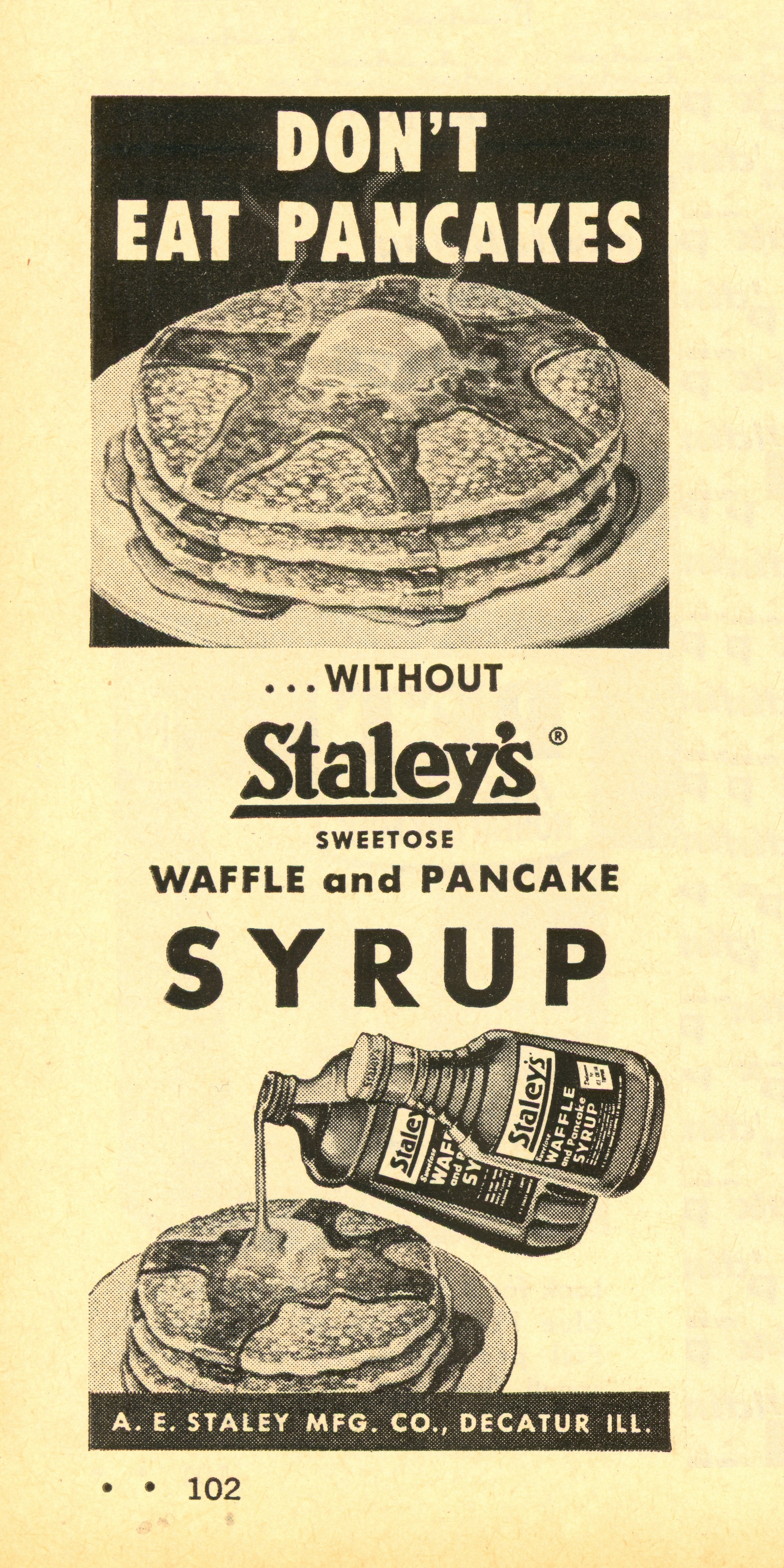 Staley's Syrup - published in Woman's Day - February 1958