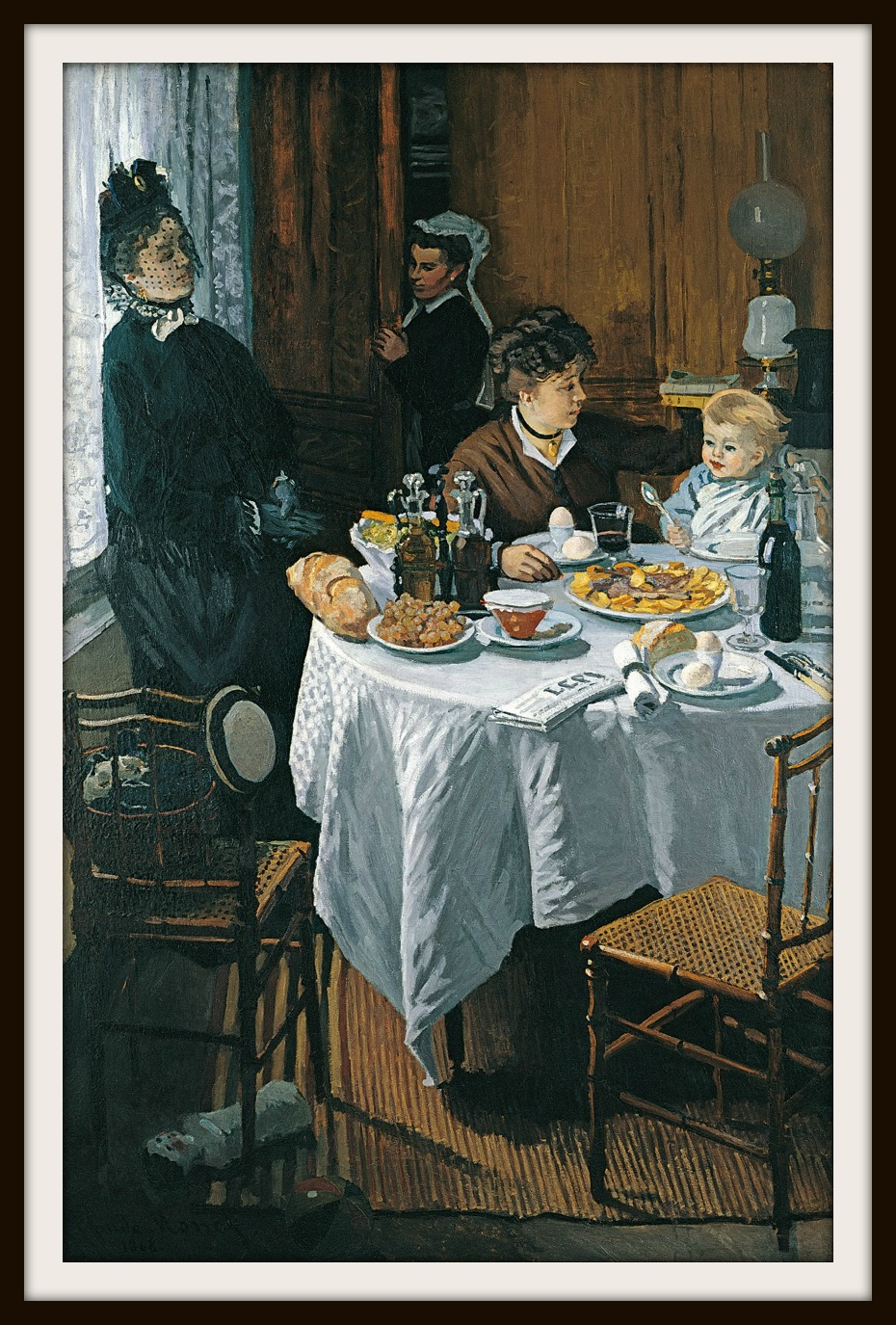 The Luncheon, 1868, Städel, which features Camille Doncieux and Jean Monet, was rejected by the Paris Salon of 1870 but included in the first Impressionists' exhibition in 1874. (97 in x 85 in)