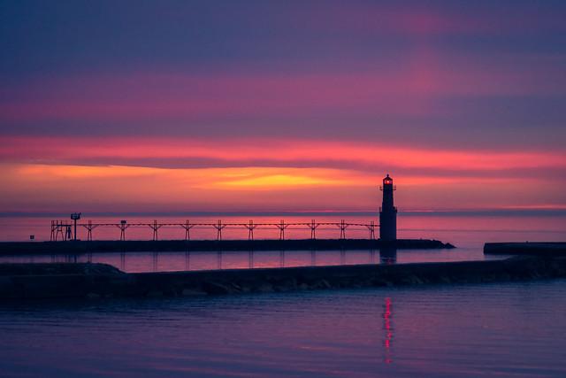 Sunrise, Lighthouse, Lake Michigan, Algoma, WI, Blue hour, Morning