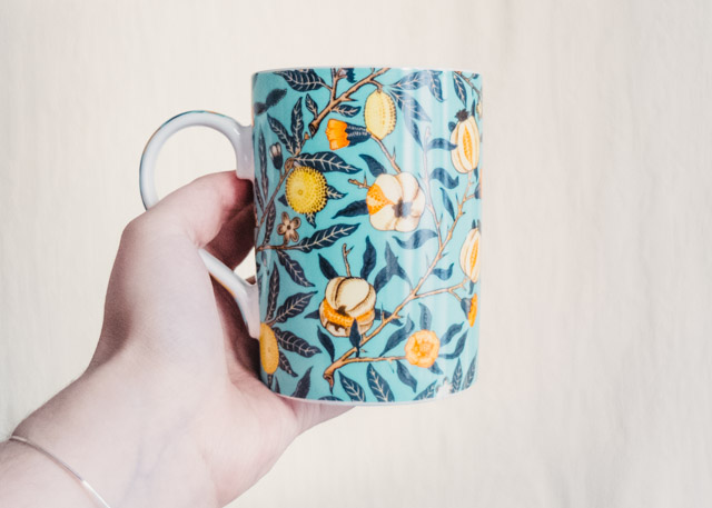 william morris style patterned mug