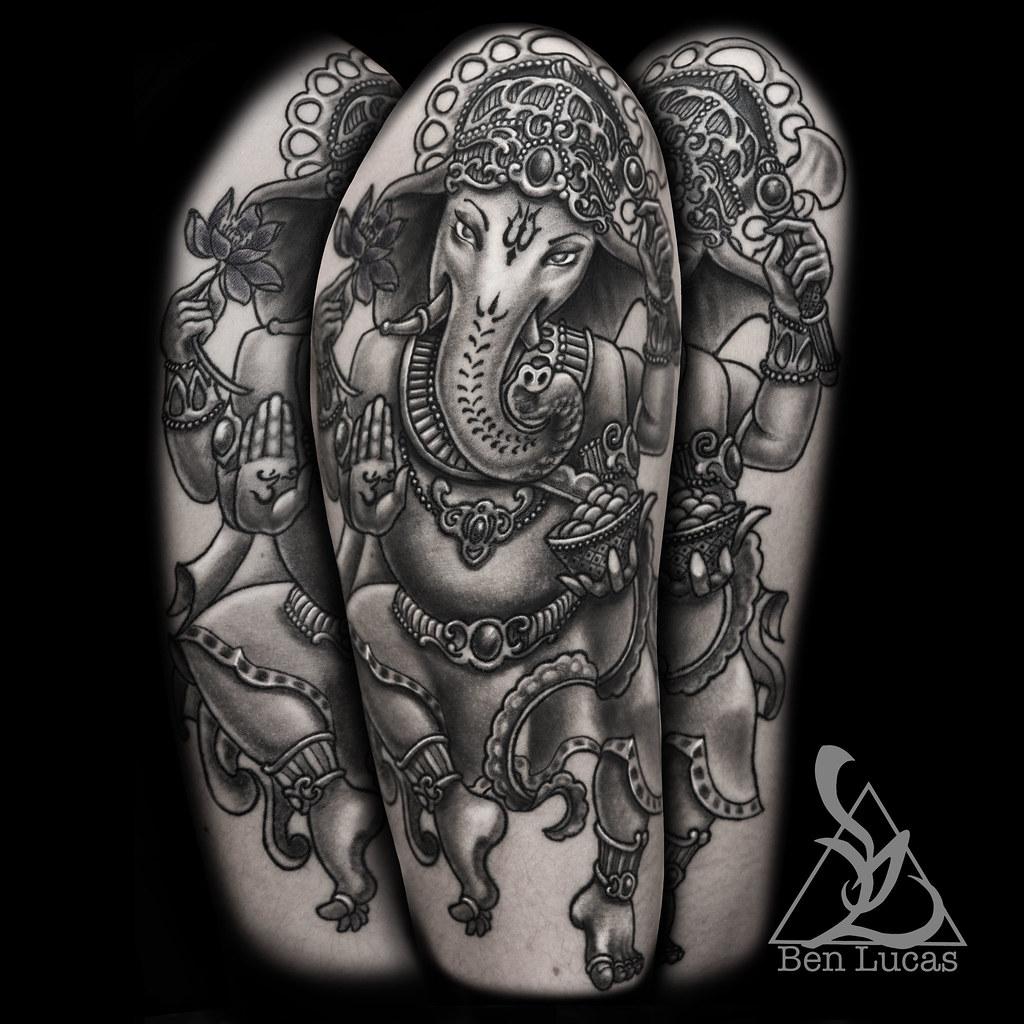 Upper Arm Half Sleeve Tattoo Designs: Black-and-Grey-Ganesha-half-sleeve-tattoo-on-upper-arm-by