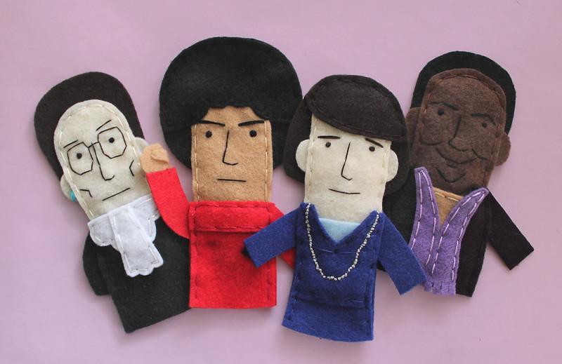 Feminist finger puppets: Ruth Bader Ginsburg, Angela Davis, Margaret Sanger, and bell hooks