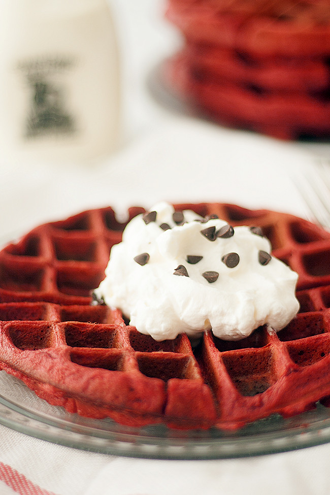 a delicious valentines day breakfast for the whole family | red velvet waffles