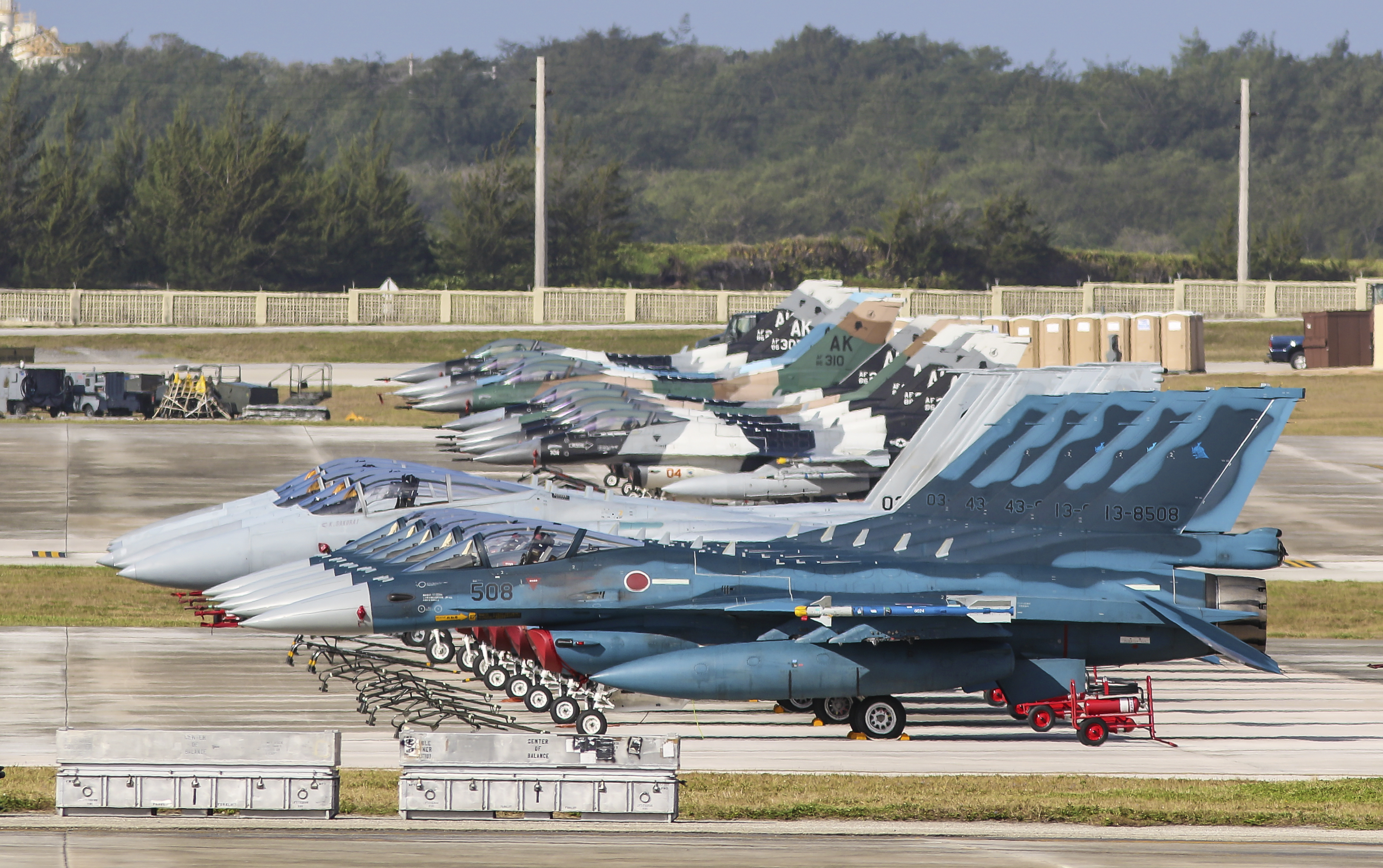 Group of Japan Air Self-Defense Force F-2A and F-15J and United