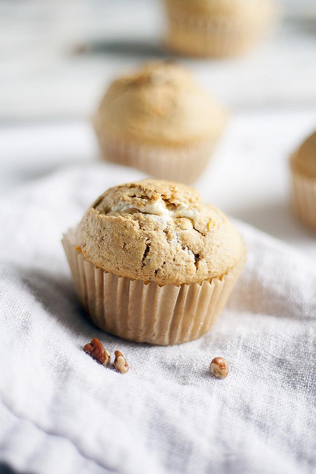 cream cheese filled carrot cake muffins | heathersfrenchpress.com