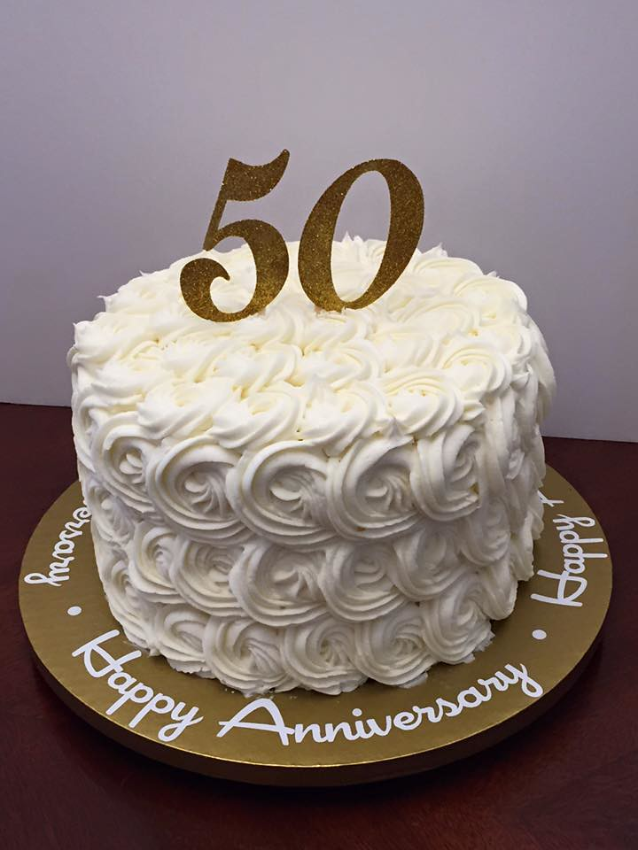 White Buttercream Rose 50th Anniversary Cake Lady Wpb